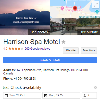 Google Hotel Ads of Harrison Spa Motel